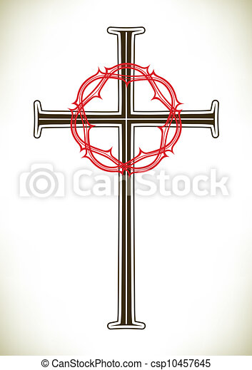 Christian cross and wreath - csp10457645
