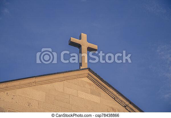christian cross at the sunset - csp78438866