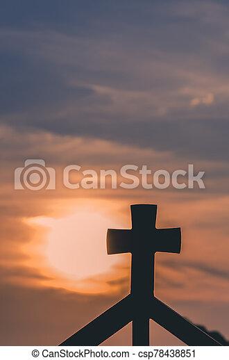 christian cross at the sunset - csp78438851