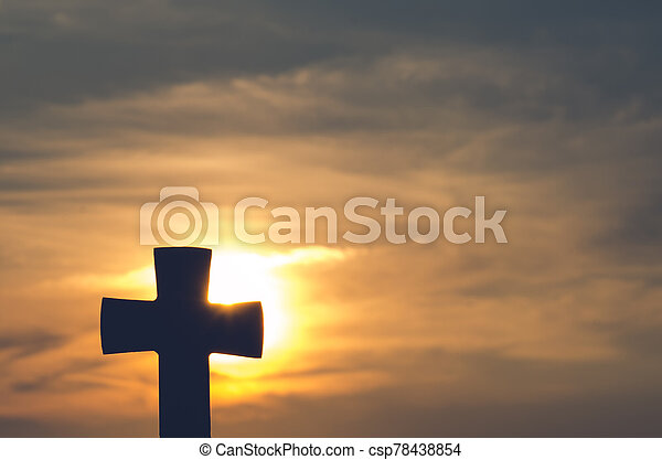 christian cross at the sunset - csp78438854