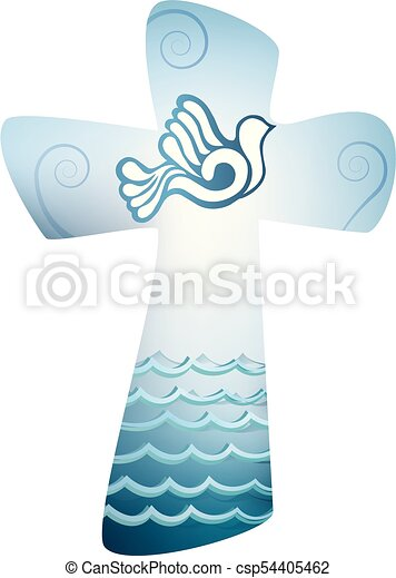 Christian Cross Baptism Holy Spirit Symbol With Dove And Sea