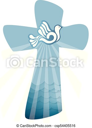 Christian Cross Baptism Holy Spirit Symbol With Dove With Ray