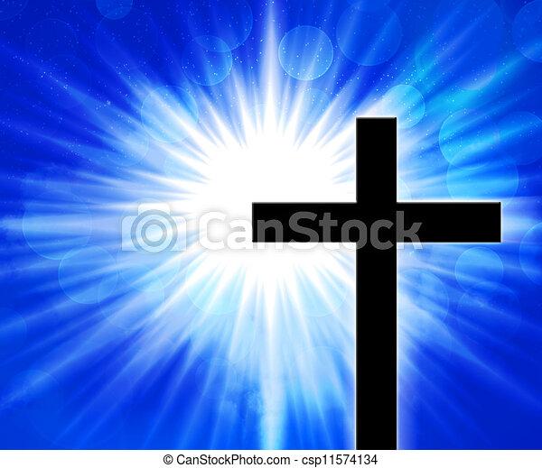 Christian Cross Blue Background - csp11574134