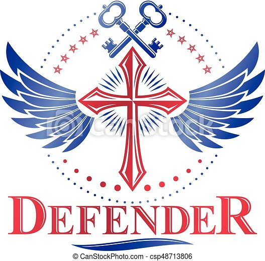 Christian Cross Decorative Emblem Composed With Security Vector