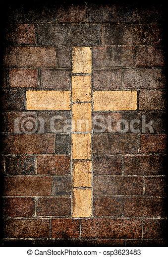 christian cross in brick wall - csp3623483