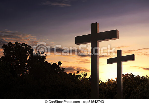 Christian cross in the field with trees - csp51542743