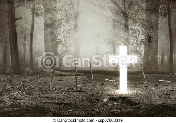 Christian Cross in the forest - csp87603319