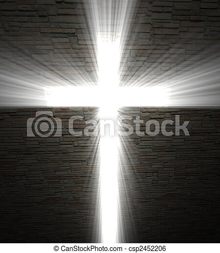 Christian cross of light - csp2452206