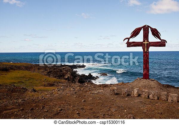 Christian Cross On Easter island coastline - csp15300116