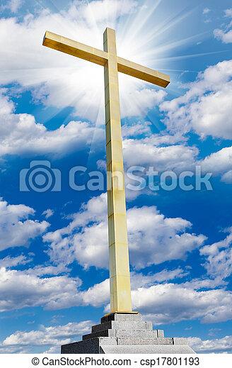 Christian cross on sky. Religion and faith concept. - csp17801193
