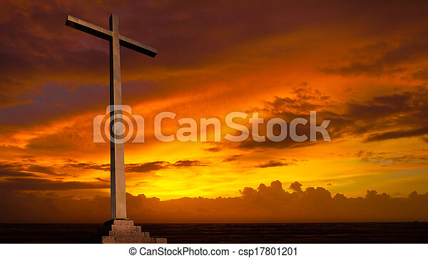 Christian cross on sunset sky. Religion background. - csp17801201