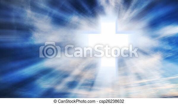 Christian Cross on the Sky - csp26238632