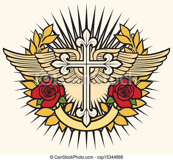 christian cross, wings and roses - csp15344868