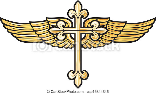 christian cross with wing - csp15344846