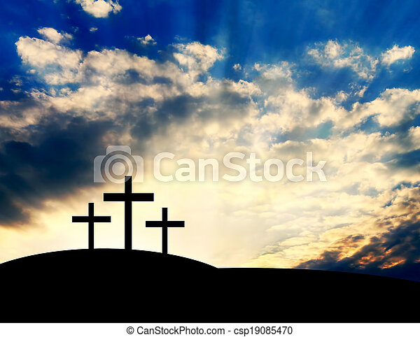 Christian Crosses on the Hill - csp19085470