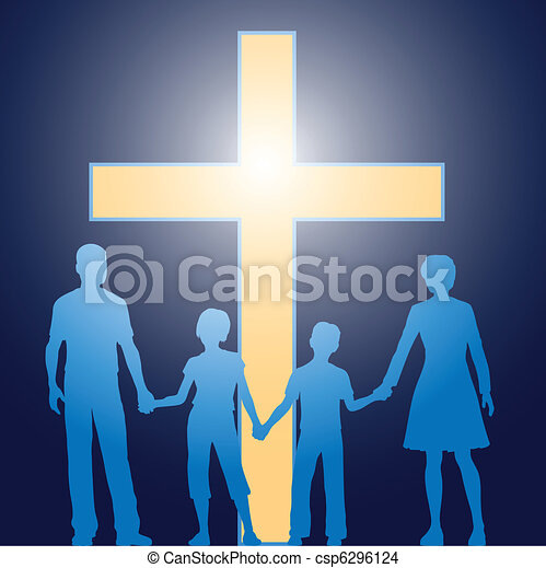 Christian family standing before luminous cross - csp6296124