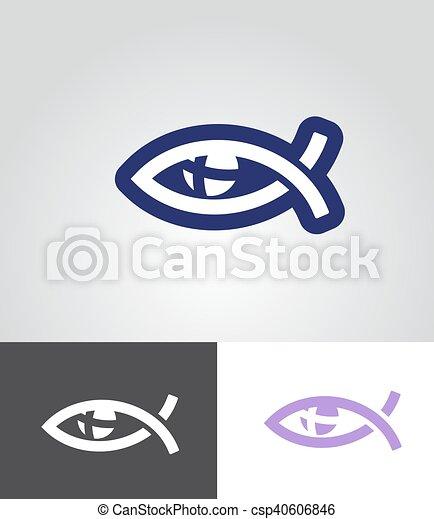 christian fish as eye symbol - csp40606846