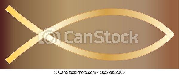 Christian Fish Gold - csp22932065