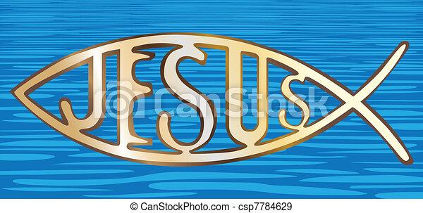 christian fish symbol on water background - illustration - csp7784629