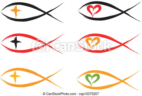 set of religious christian fish symbols vector clipart search rh canstockphoto com