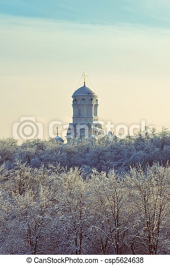 Christian Orthodox church in the winter landscape - csp5624638