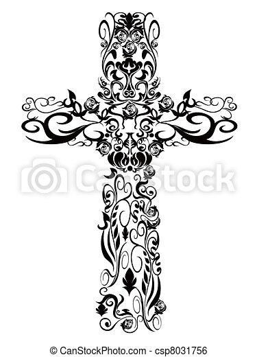 Christian pattern Cross decoration design - csp8031756