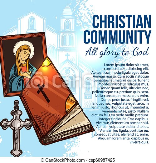 Christian religion poster with Christianity Bible