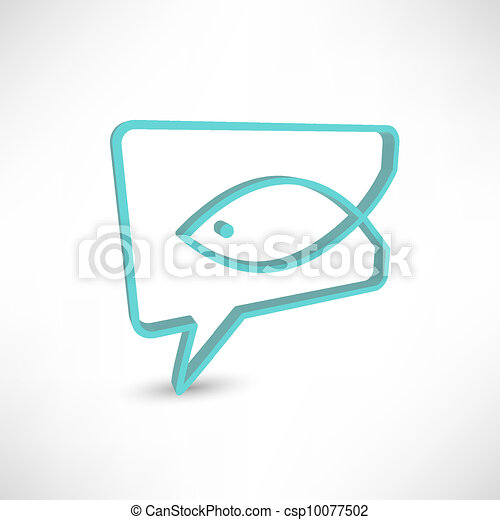 Christian religion symbol fish. Concept speech bubbles - csp10077502