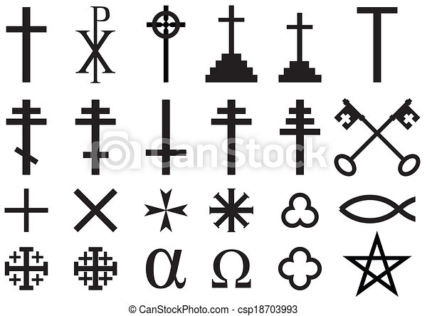 Set Of Christian Religious Symbols