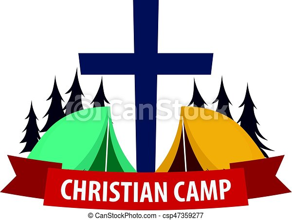 Christian summer camp. evening camping. cross. vector ...