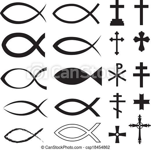Christian Symbols Set Christian Fish Symbol And Different Crosses