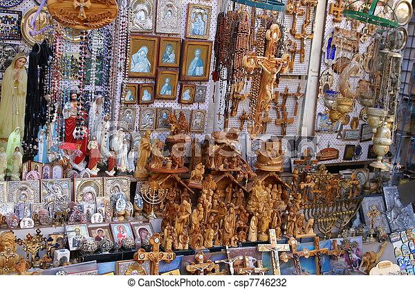 Christian symbols in the Jerusalem east market - csp7746232