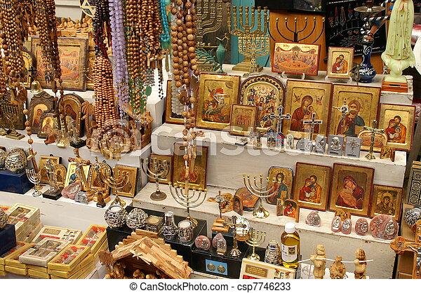 Christian symbols in the Jerusalem east market - csp7746233