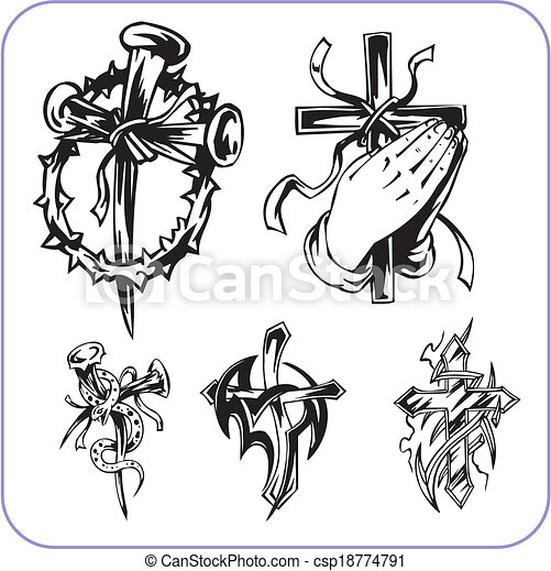 Christian symbols - vector illustration. - csp18774791