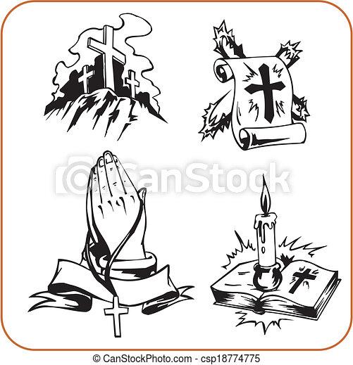 Christian Symbols Vector Illustration Christian