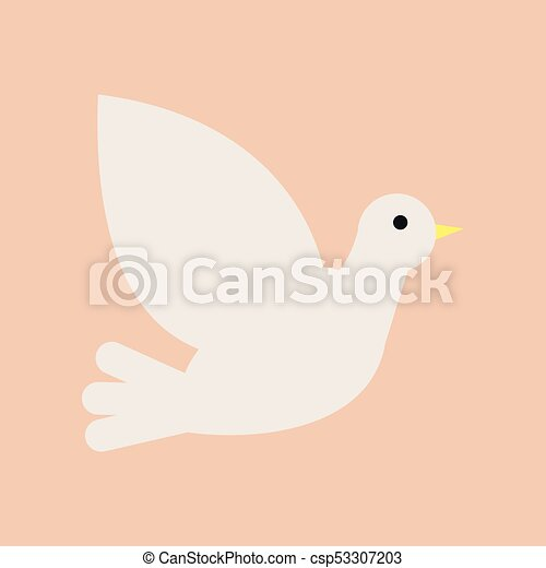 Christian White Dove Symbol Of Holy Spirit And Peace Isolated Flat