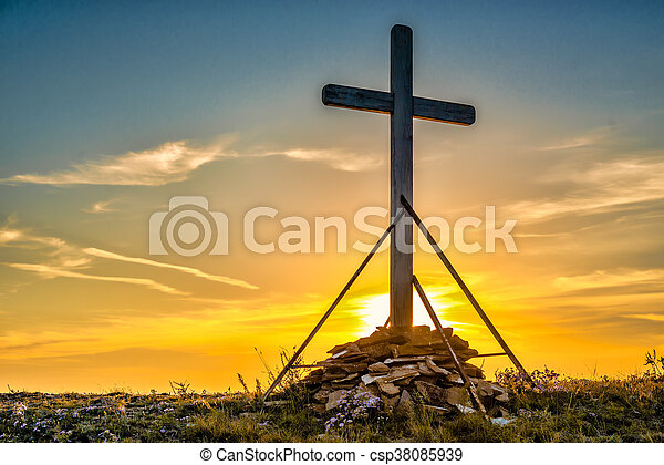 Christian wooden cross on hill - csp38085939