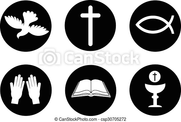 a set of christianity icons and symbols vector eps 10