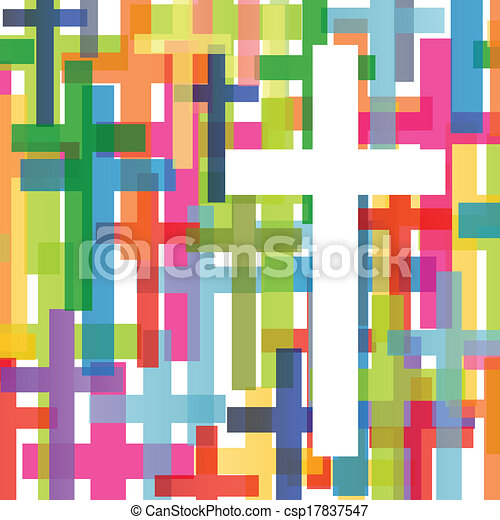 Christianity religion cross mosaic concept abstract background vector illustration for poster - csp17837547