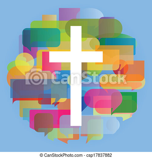 Christianity religion cross mosaic heart concept abstract background illustration vector for poster - csp17837882