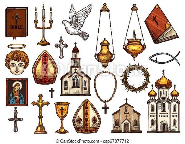 Christianity Religion Orthodox Catholic Symbols Orthodox And Catholic Or Evangelic And Protestant Christianity Religion Canstock
