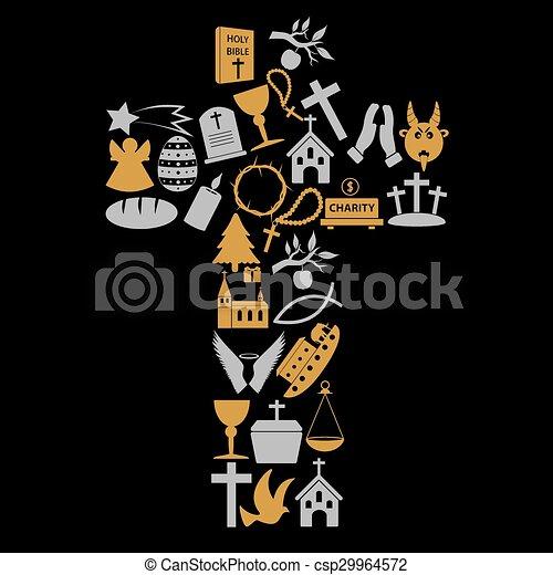 christianity religion symbols in big cross eps10 - csp29964572