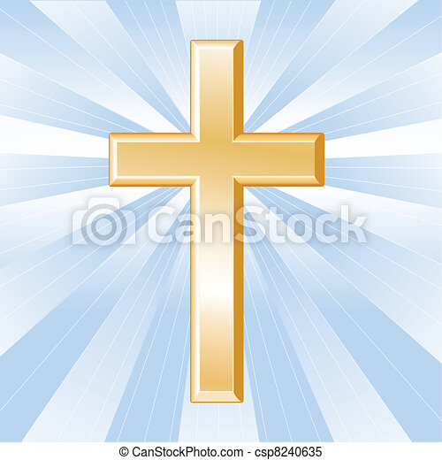 Christianity Symbol, Golden Cross - csp8240635