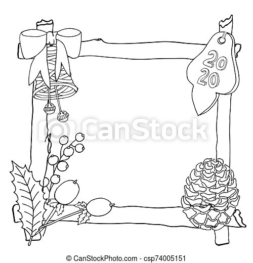 Christmas 2020 Frame Or Wreath Coloring Book Or Page Vector New Year 2020 Artwork Floral Ornate Decorative Tribal Decor