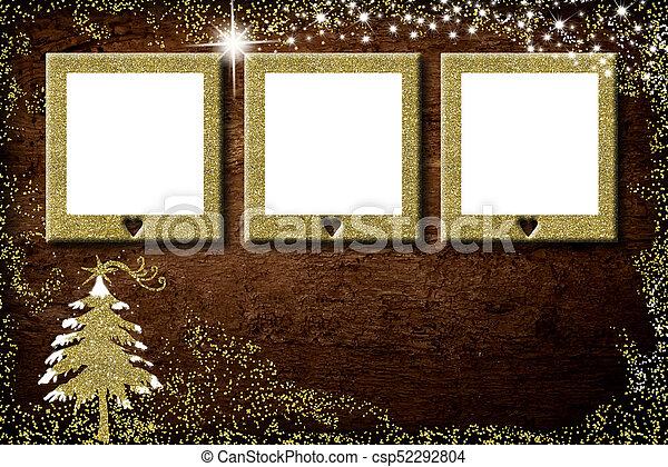 Christmas 3 empty photo frames card - csp52292804