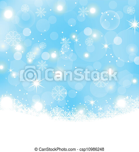 Christmas abstract background with snowflakes, stars - csp10986248