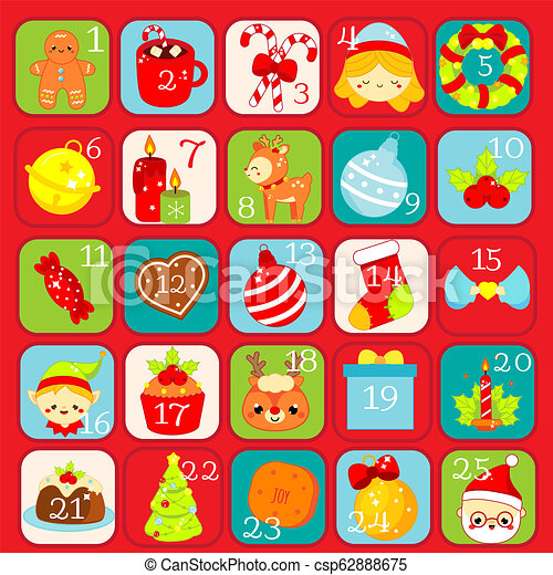 Christmas Countdown Calendar.Christmas Advent Calendar 25 Days Colorful Countdown Icons With Traditional New Year Holidays Symbols