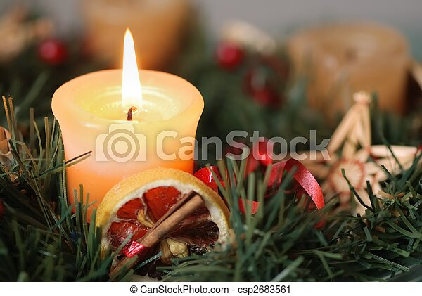 Christmas advent wreath - detail - csp2683561