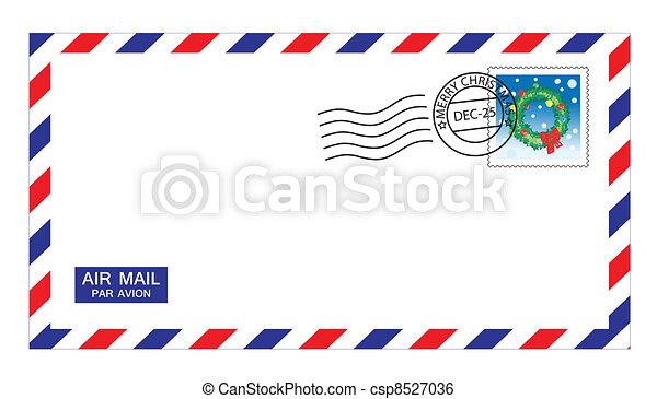 christmas airmail envelope - csp8527036