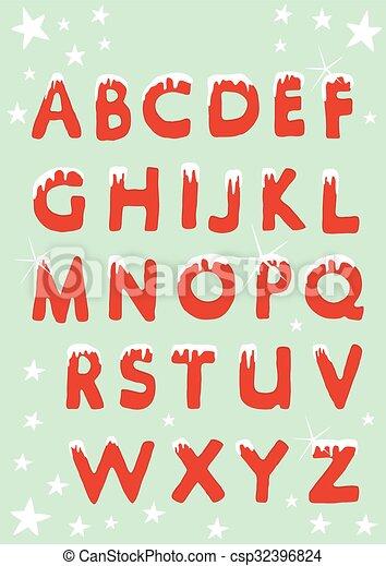 Christmas alphabet hung with snow - csp32396824